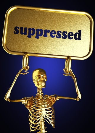 Golden skeleton holding the sign made in 3D Stock Photo - 13482795