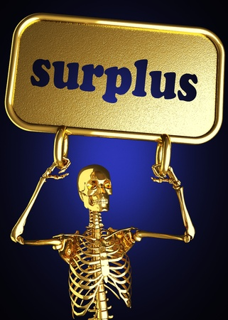 surplus: Golden skeleton holding the sign made in 3D