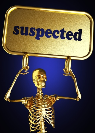 suspected: Golden skeleton holding the sign made in 3D