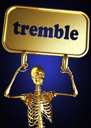 tremble: Golden skeleton holding the sign made in 3D
