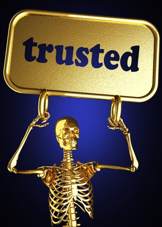 Golden skeleton holding the sign made in 3D Stock Photo - 13480986