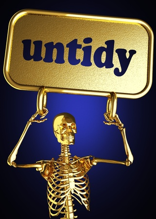 Golden skeleton holding the sign made in 3D Stock Photo - 13478562