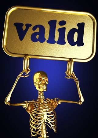Golden skeleton holding the sign made in 3D Stock Photo - 13478745