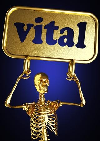 signos vitales: Esqueleto de oro con el signo realizado en 3D
