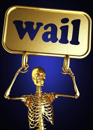 wail: Golden skeleton holding the sign made in 3D