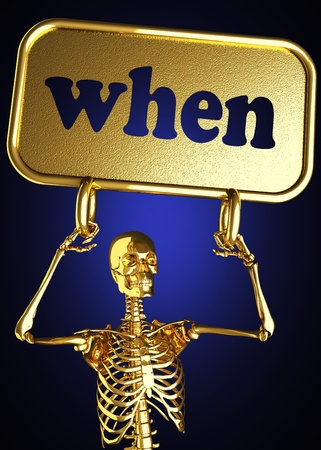 Golden skeleton holding the sign made in 3D Stock Photo - 13478618