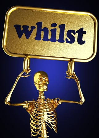 Golden skeleton holding the sign made in 3D Stock Photo - 13478550