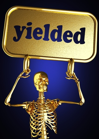 yielded: Golden skeleton holding the sign made in 3D