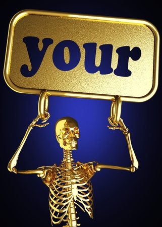 keep your hands: Golden skeleton holding the sign made in 3D