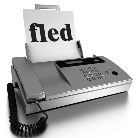 fled: Word printed on fax on white background