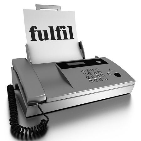fulfil: Word printed on fax on white background