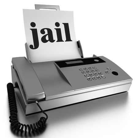 send to prison: Word printed on fax on white background