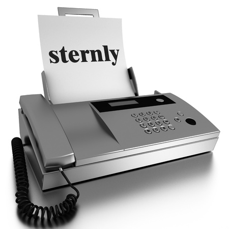 sternly: Word printed on fax on white background