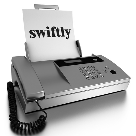 swiftly: Word printed on fax on white background