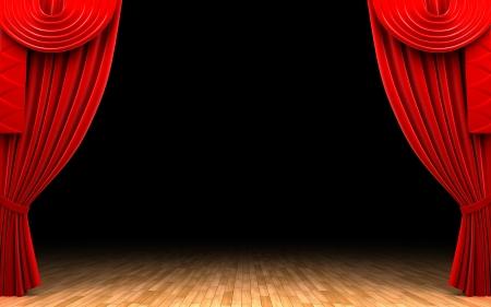 Red velvet curtain opening scene Stock Photo - 13975142