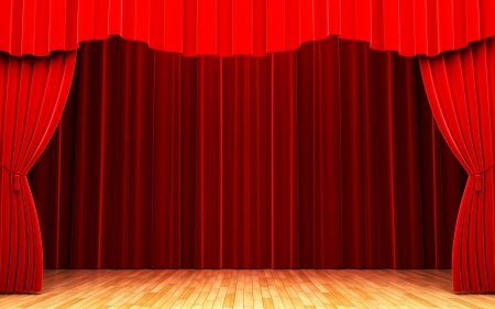Red velvet curtain opening scene Stock Photo - 13975152