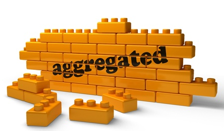 aggregated: Word on yellow wall Stock Photo