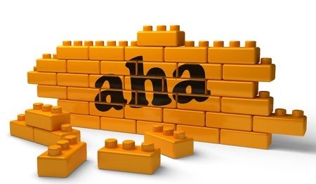 aha: Word on yellow wall Stock Photo