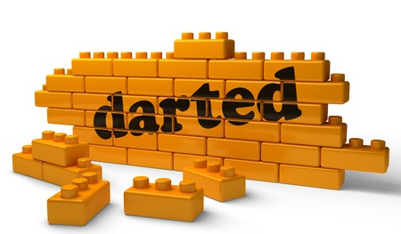 darted: Word on yellow wall Stock Photo