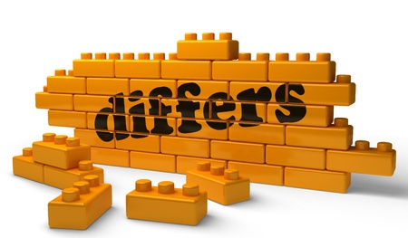 differs: Word on yellow wall Stock Photo