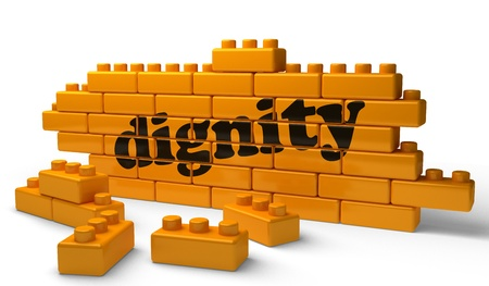 dignity: Word on yellow wall Stock Photo