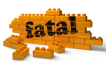 fatal: Word on yellow wall Stock Photo