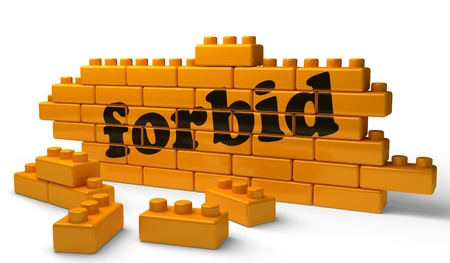 forbid: Word on yellow wall Stock Photo