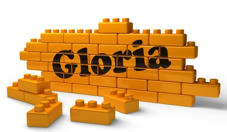 gloria: Word on yellow wall Stock Photo