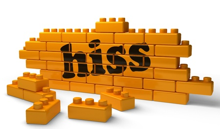 hiss: Word on yellow wall Stock Photo