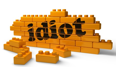 idiot box: Word on yellow wall Stock Photo