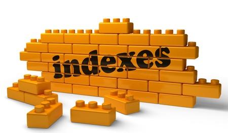 indexes: Word on yellow wall Stock Photo
