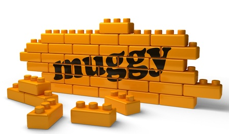 muggy: Word on yellow wall Stock Photo