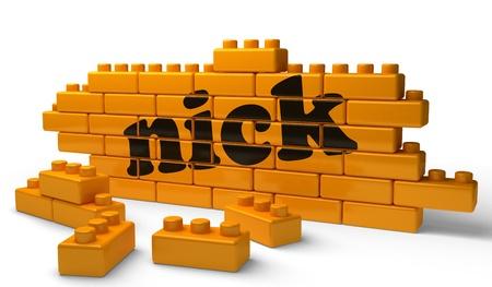 nick: Word on yellow wall Stock Photo