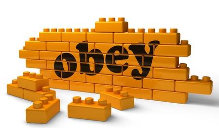 obedecer: Palabra en la pared amarilla