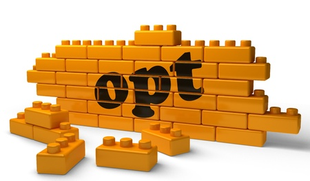 opt: Word on yellow wall Stock Photo