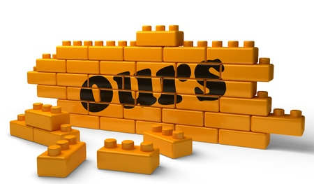 ours: Word on yellow wall Stock Photo