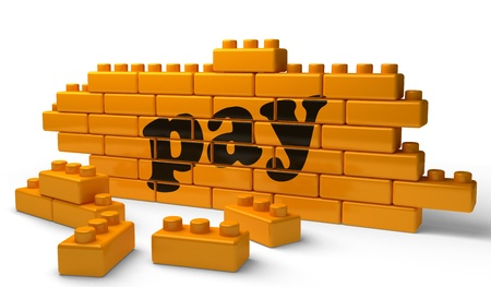 pay wall: Word on yellow wall Stock Photo