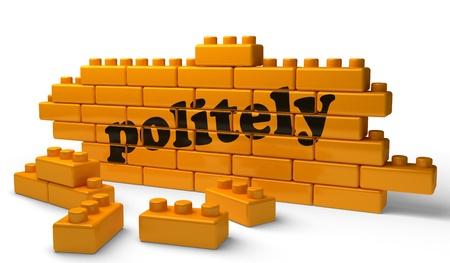 politely: Word on yellow wall Stock Photo