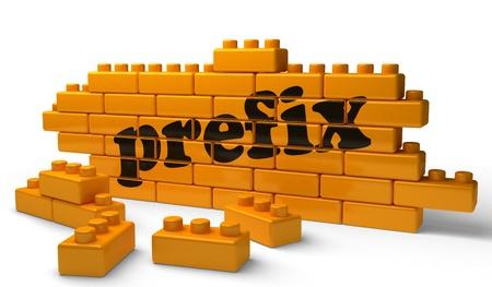 prefix: Word on yellow wall Stock Photo