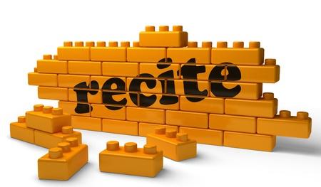 recite: Word on yellow wall Stock Photo