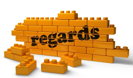 regards: Word on yellow wall Stock Photo