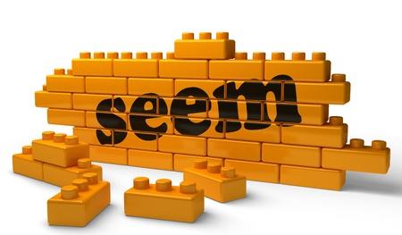 seem: Word on yellow wall Stock Photo