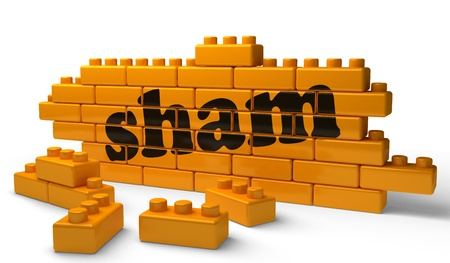sham: Word on yellow wall Stock Photo