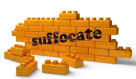 suffocate: Word on yellow wall Stock Photo