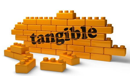 tangible: Word on yellow wall Stock Photo