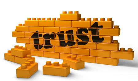 trust people: Word on yellow wall Stock Photo