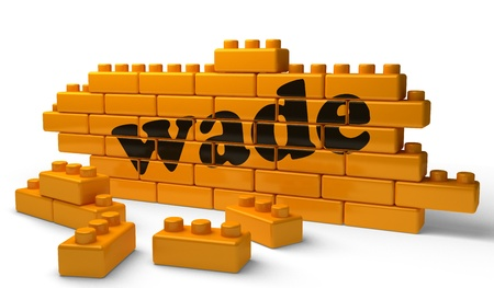 wade: Word on yellow wall Stock Photo