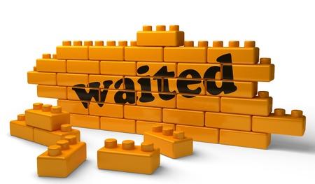 waited: Word on yellow wall Stock Photo