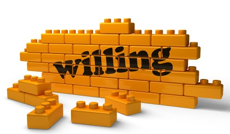 willing: Word on yellow wall Stock Photo
