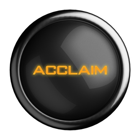 acclaim: Word on black button